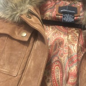 Moda International Jackets & Coats - Suede jacket with fur collar and sleeves
